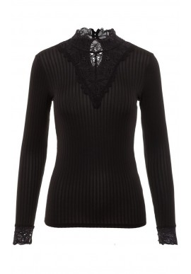 YAS BLACE HIGHNECK TOP BLACK