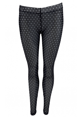Black Colour Leggings - Annie Mesh - Black Dot