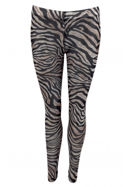 Black Colour Leggings - Annie Mesh - Zebra