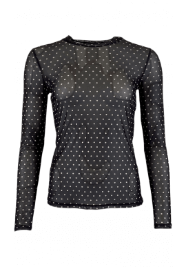 Black Colour Bluse - Annie Mesh - Black Dot