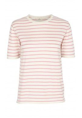 Basic Apparel T-shirt - Soya Stripe - Whisper White / Wild Rose