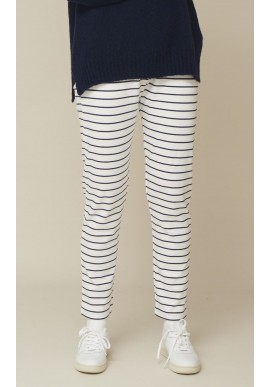 Basic Apparel Bukser - Saga Striped - Off White / Navy