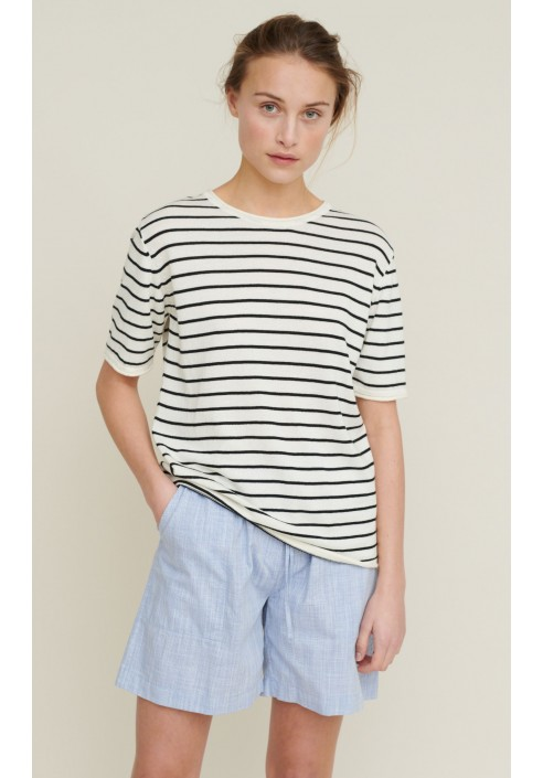 Basic Apparel T-shirt - Soya Stripe - Whisper White / Black