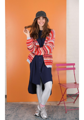Black Colour Cardigan - TUULA striped - Red