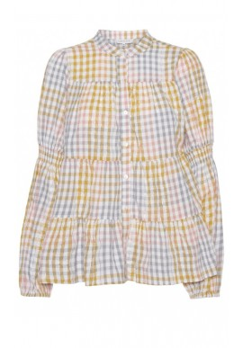 Continue Bluse - Sanna Multi Check - Multi Yellow check