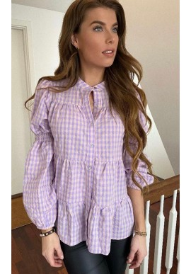 Continue Bluse - Sanna - Purple Check
