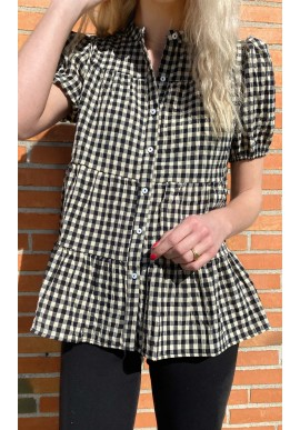 Continue Bluse - Sanna short - Small Check Black