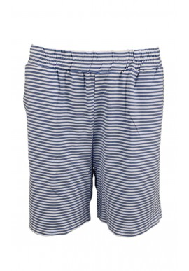 Black Colour Shorts - Polly Jersey Striped - Blue