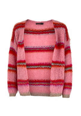 Black Colour Cardigan - Tailor Brushed - Candy Pink