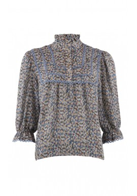 Continue Bluse - Isabella - Blue Flower