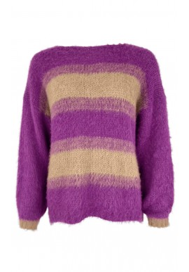 Black Colour Sweater - Avery Brushed Jumper - Frappe/Fuchsia